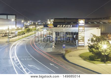 Erandio Biscay Basque Country Spain - October 19 2016: A Repsol company gas station at night. Repsol is a gas and fuel multinational based in Spain. It is the 15th largest fuel refining company in the world.