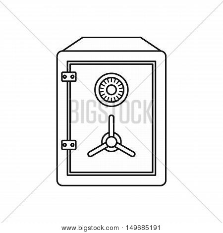 Metal bank safe icon in outline style isolated on white background vector illustration