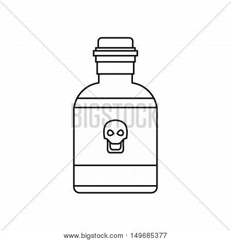 Bottle of poison icon in outline style isolated on white background vector illustration