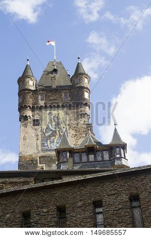 Detail of Tower of the Castle of Cochem Germany. It is the largest hill-castle on the Mosel river.