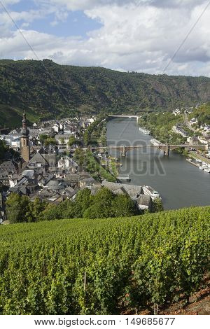 Cochem, Germany - Aug 20, 2016: Cityscape Of Cochem High View From The Castle With Mosel River.