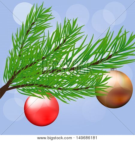 Christmas branch with hanging Christmas ball. happy holidays