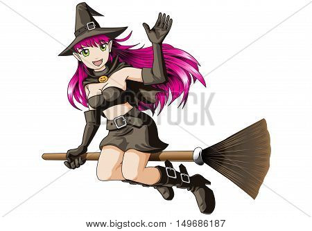 Witch girl flying cartoon on white background for Happy Halloween night party festival holiday vector illustration.
