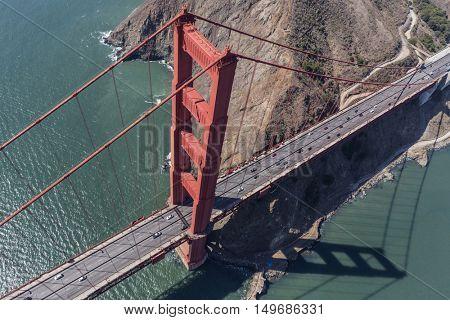 Golden Gate bridge, Marin Headland and San Francisco Bay aerial view.