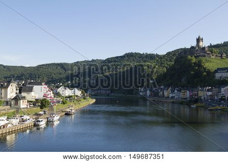 Cochem, Germany - Aug 20, 2016: Cityscape Of Cochem From The Mosel River With View Of The Castle