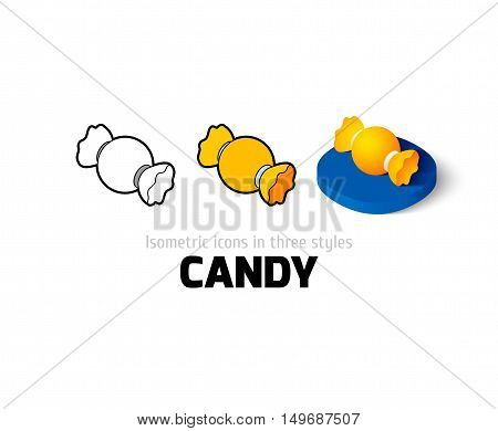 Candy icon, vector symbol in flat, outline and isometric style