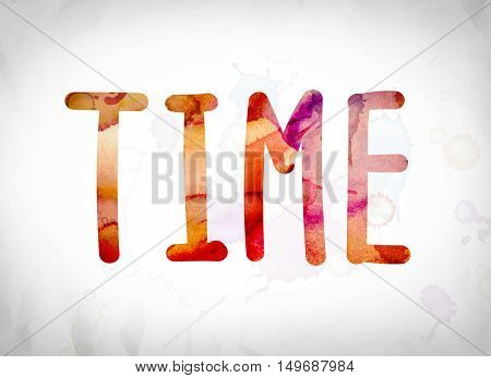 Time Concept Watercolor Word Art