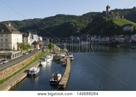 Cochem Germany - Aug 20 2016: Cityscape of Cochem from the Mosel river with view of the Castle