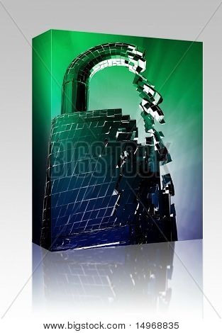 Software package box Hacking bypass compromised security with broken lock concept illustration