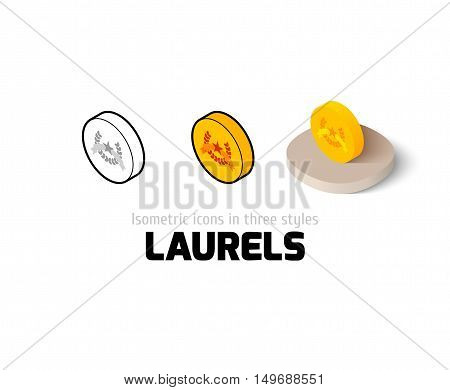 Laurels icon, vector symbol in flat, outline and isometric style