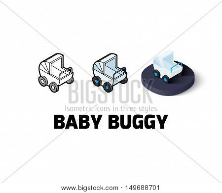 Baby buggy icon, vector symbol in flat, outline and isometric style