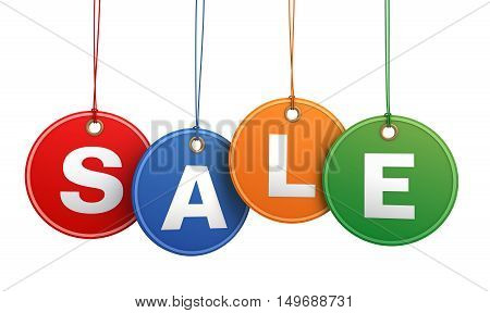 sale shopping tag concept 3d illustration isolated on white background