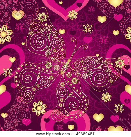 Valentine seamless purple pattern with gold lace butterfly and hearts (vector)