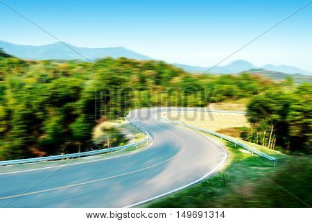 Curved expressway, the effect of dynamic fuzzy, exaggerated expression.