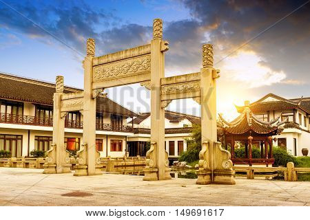 China's traditional architecture and arch dusk landscape.