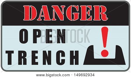 Industry warning sign Danger Sign - Open Trench.