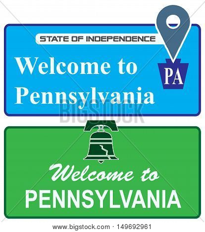 Set shortcuts Welcome to Pennsylvania. Vector illustration.