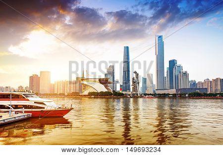 Big city skyscrapers, China Pearl River New City at dusk