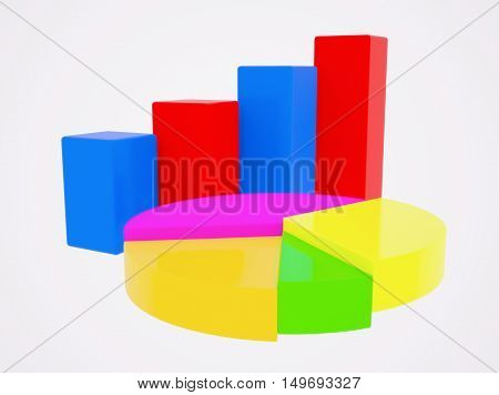 Diagrams. The column and pie charts. 3d illustration.