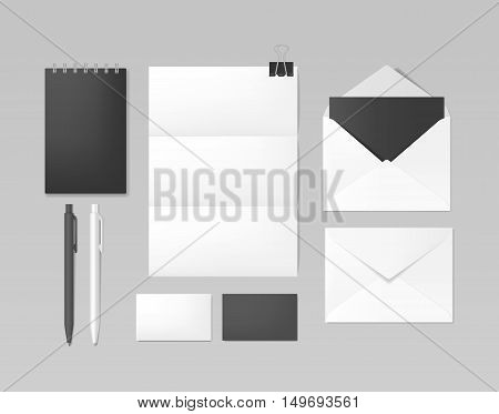 Set of corporate identity and branding template. Business stationery mockup