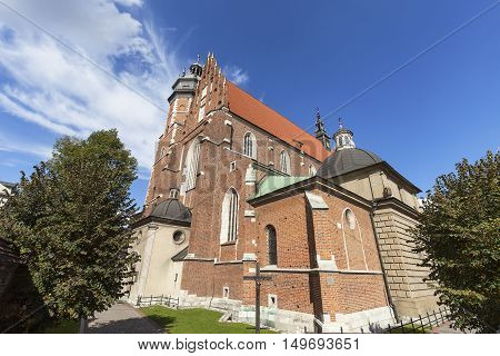 Roman catholic 14th century churchCorpus Christi Basilica in Jewish district Kazimierz Krakow Poland