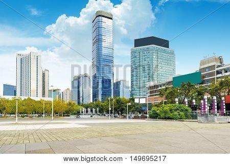 China Guangzhou City Plaza built-up city center.