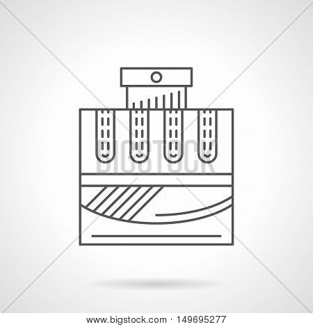 Cologne water bottle. Male fragrances product, cosmetic perfume. Sign for perfumery store. Black flat line vector icon.