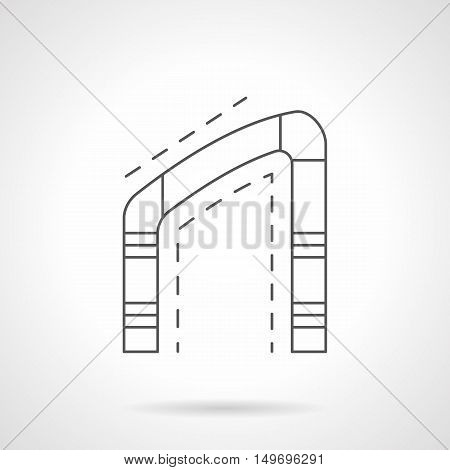Asymmetrical arch with one curved side. Decorative elements of architecture and constructions. Doorways, window frame. Black flat line vector icon.