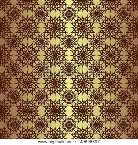 vector illustration Christmas seamless background set of snowflakes on a gold background