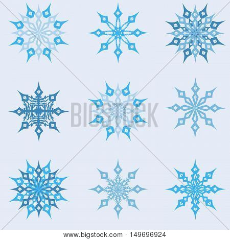 vector illustration of a set of New Year's snowflakes on a light background