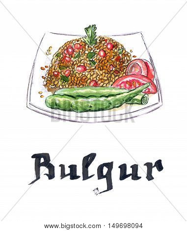 Plate of bulgur with peppers tomatoes and pomegranate hand drawn - watercolor Illustration