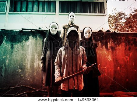 Group of young people in halloween concept and book cover ideas