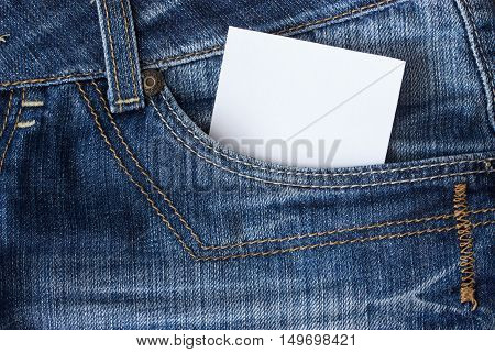 Piece of paper in blue jeanns pocket