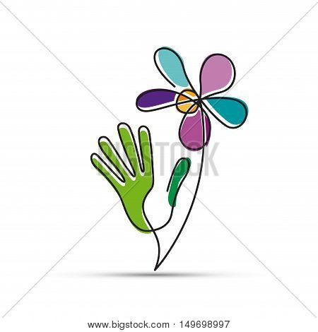 Vector sign, hand and flower, friendly environment