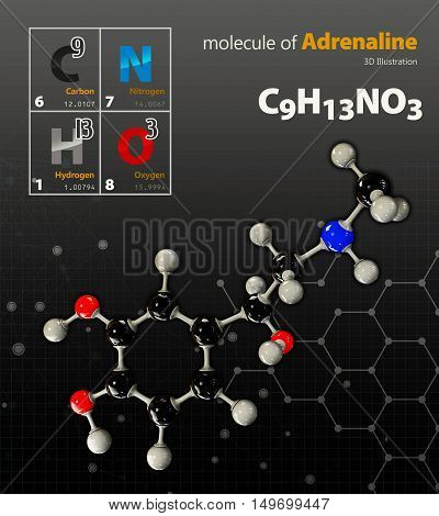 Illustration Of Adrenaline Molecule Isolated Black Background