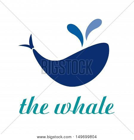 Vector sign abstract whale, isolated on white
