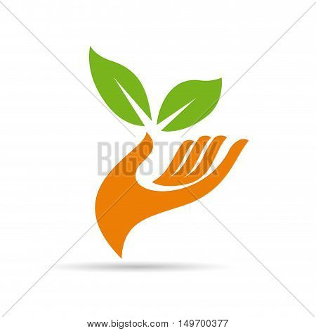 Vector sign friendly environment hand and leaf