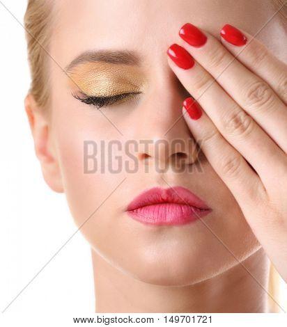 Portrait of stylish woman with beautiful makeup, closeup