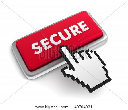 secure 3d illustration isolated on white background