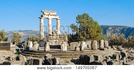 A view of temple ruins at Delphi, Greece