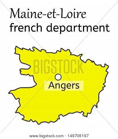 Maine-et-Loire french department map on white in vector