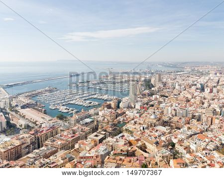 Alicante - October 4 2015: Early morning on ipanskom tourist the Costa Blanca and the city view from the top 4 October 2015 El Campello Costa Blanca Spain