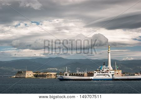 The Blessing of a Golden Madonnina at Port of Messina in Sicily Italy.