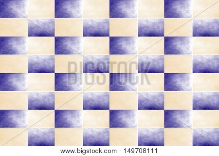 Illustration of an abstract dark blue and vanilla colored chessboard