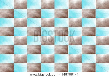 Illustration of an abstract brown and cyan chessboard