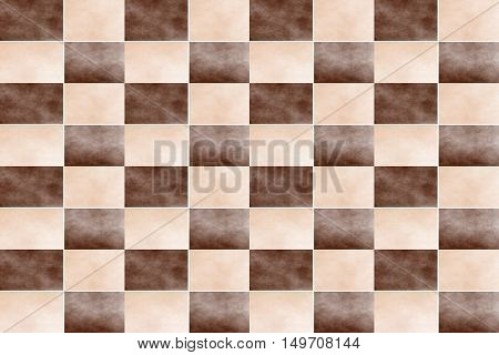Illustration of an abstract brown and vanilla colored chessboard