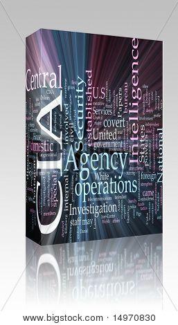 Paquete de software ilustración de concepto de nube de palabra de la Agencia Central de inteligencia CIA brillante lig