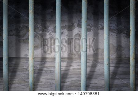 Jail cells iron bars casting shadows on the prison floor