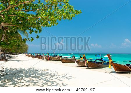 White sand beach of Bamboo island view, Phi Phi, Thailand
