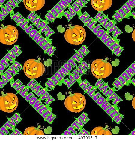 Vector illustrations of Halloween pattern seamless with pumpkin and lettering.